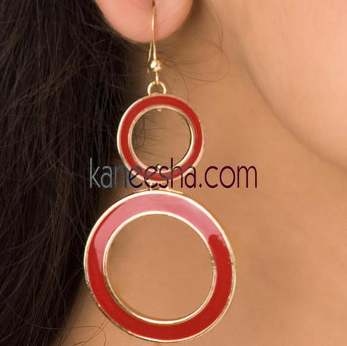 Red Hanging Disc Earrings
