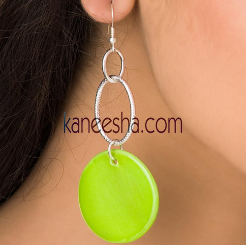 Parrot Green Hanging Disc Earrings