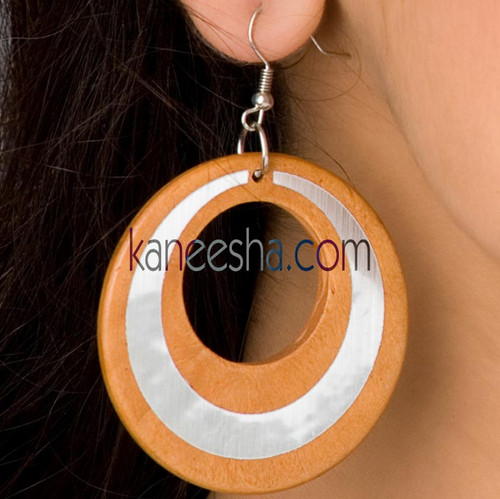 Orange/Silver Disc Earrings-60% price reduction