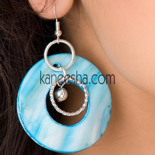 Turquoise Hanging Disc Earrings-60% price reduction