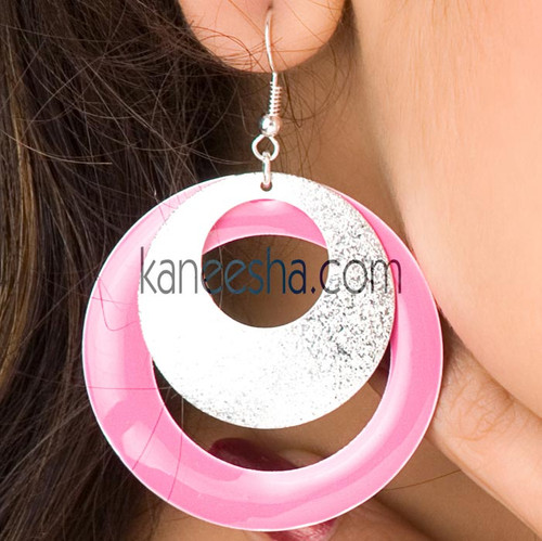 Pink/Silver Hanging Disc Earrings
