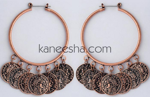 Copper Coin Hoop Earrings