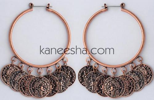 Copper Coin Hoop Earrings