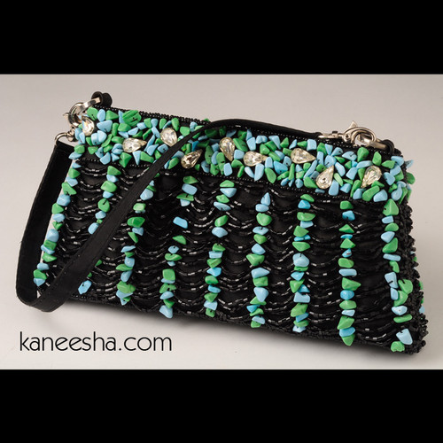 Stunning Black/Turquoise Fully Beaded Clutch
