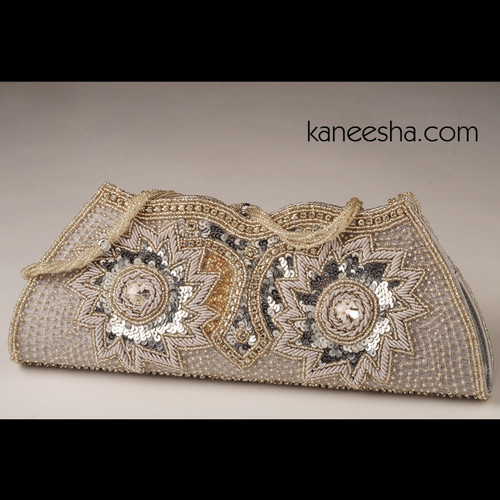 Natural Color Silk Antique Zardosi Embroidered Clutch Purse