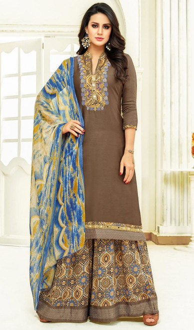 Brown Color Shaded Satin Palazzo Suit
