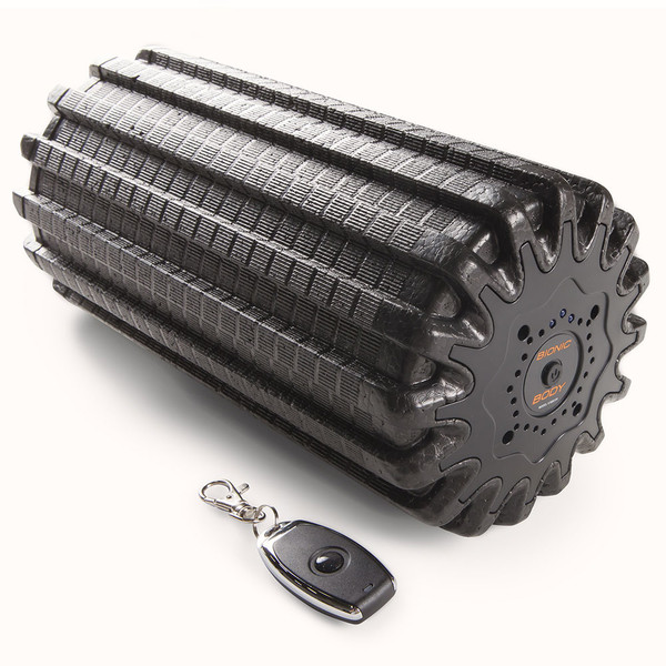 The Bionic Body Rechargeable Vibrating Recovery Foam Roller Massager - BBVYP includes a keychain size remote control for easy changing of massages.