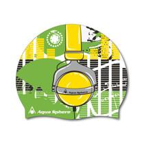 Aqua Sphere Headphones Graphic Silicone Swim Cap