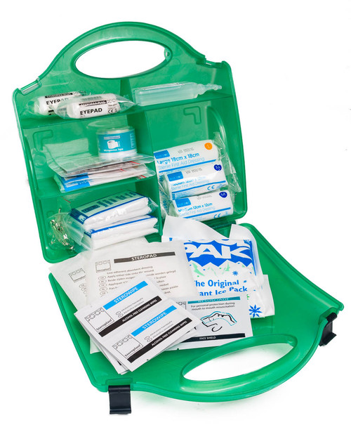 School Office First Aid Kit | Open Showing Contents | Physical Sports First Aid