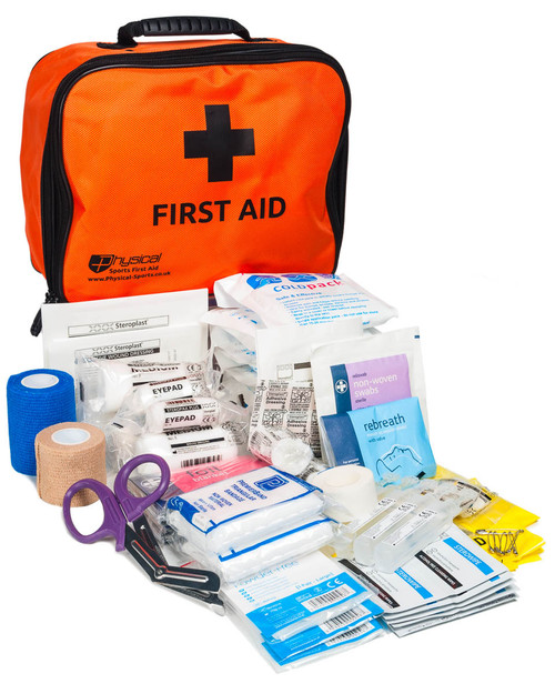 Gym First Aid Kit | Contents with Orange Incident Bag | Physical Sports First Aid