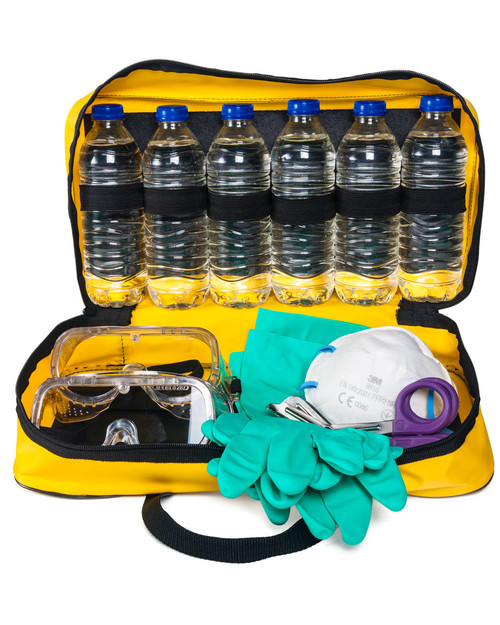 Acid Attack Response Kit, Police Spec   Bag Open Showing Contents   Physical Sports First Aid