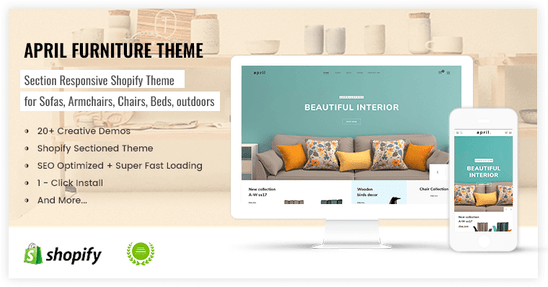 Shopify elegant theme for furniture store - preview