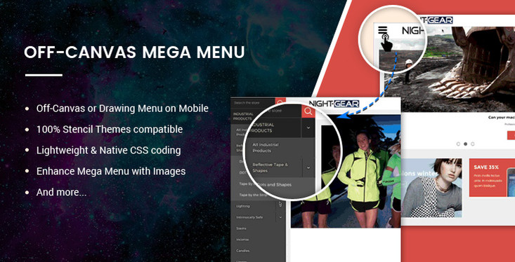 BigCommerce Off-Canvas Mega Menu feature