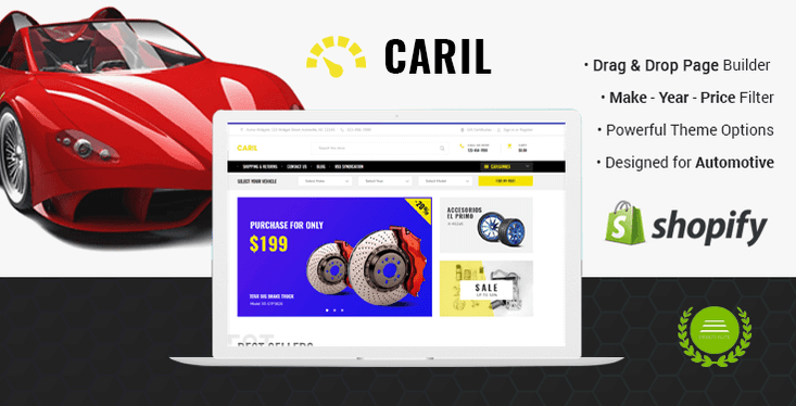 CARIL Automotive Shopify Theme For Cars Auto Parts Warehouse - Shopify page templates