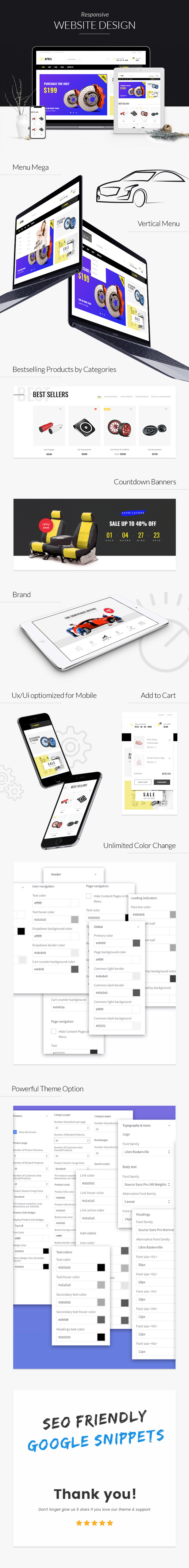 Complete features of CARIL BigCommerce theme