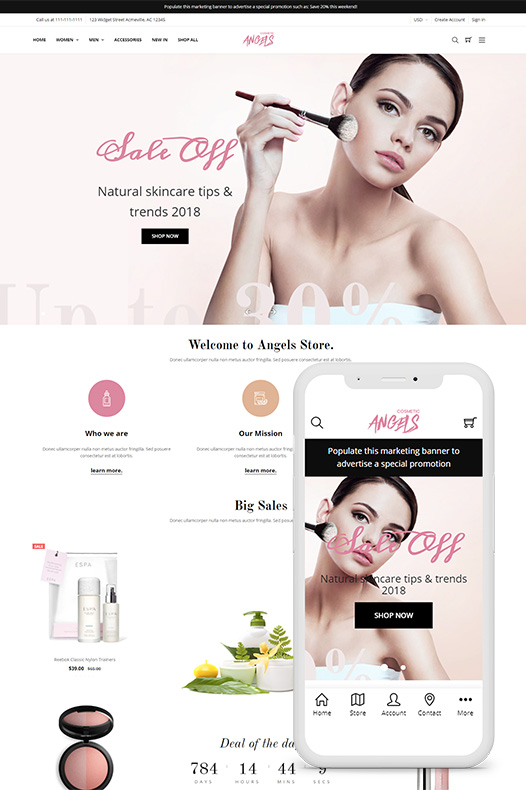 angels cosmetic bigcommerce theme