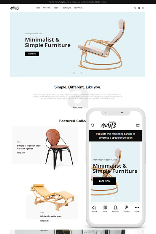 angels furniture bigcommerce theme