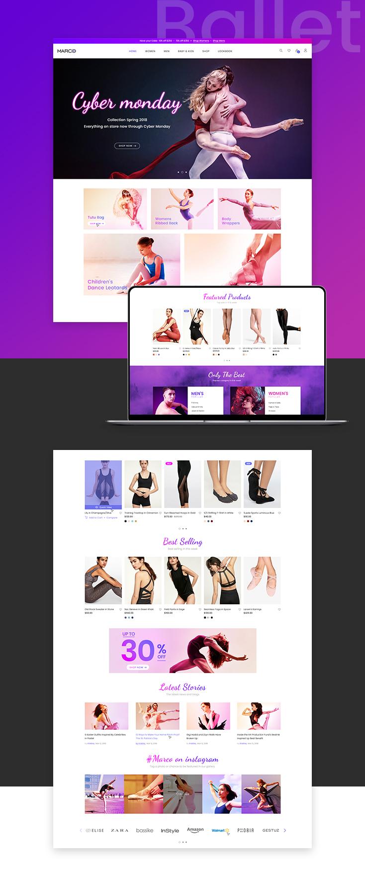 Marco Ballet Shopify theme design
