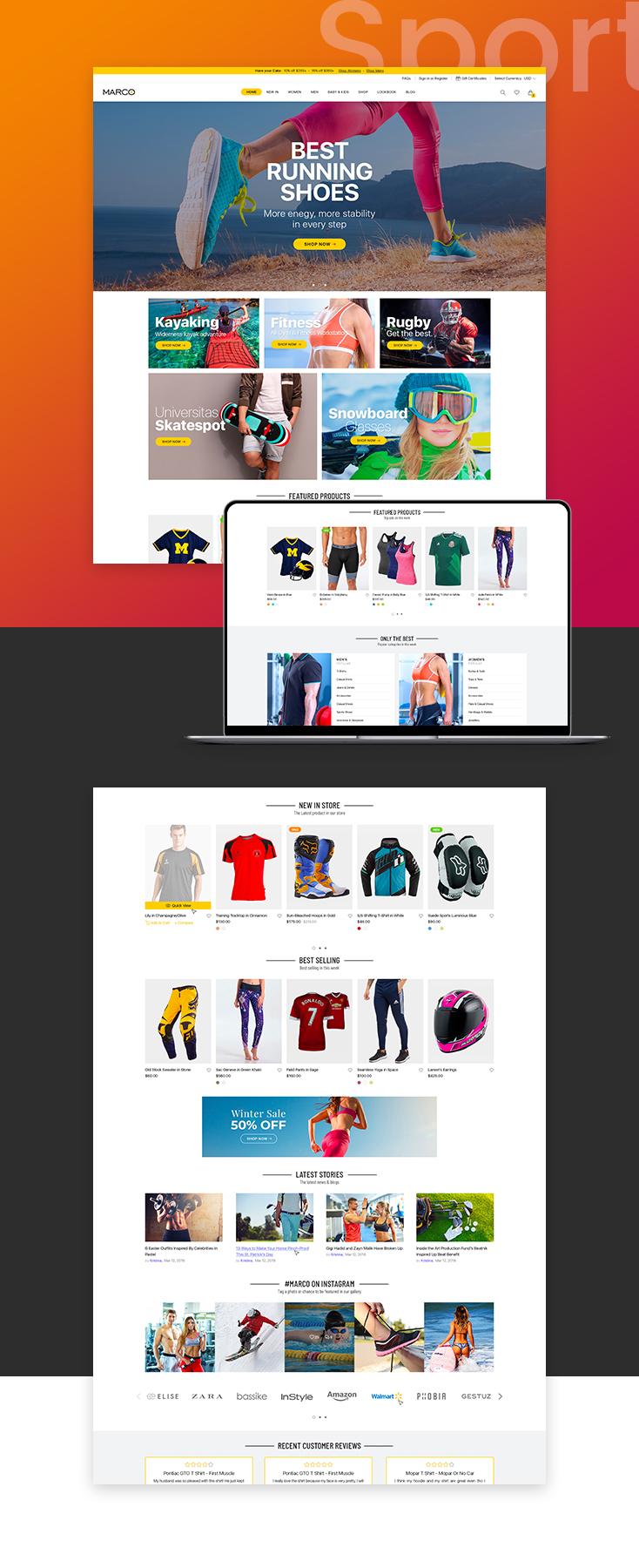 Marco Sport Shopify theme design