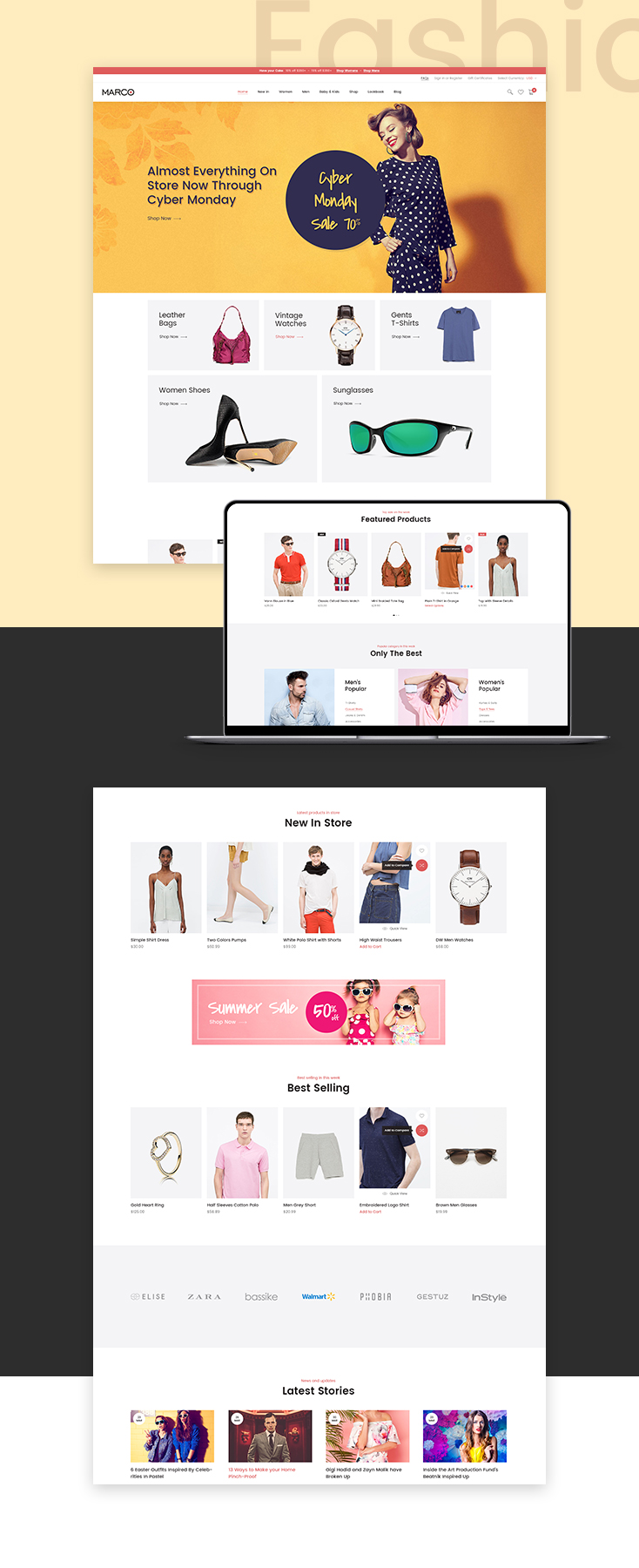 Marco Fashionage Shopify theme design