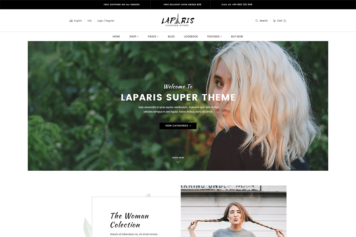 Sections shopify theme for online outfit store