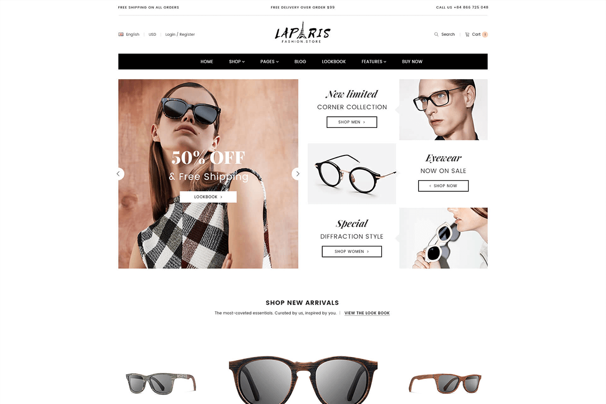 Wonderful Section Shopify Theme For Online Glasses Store