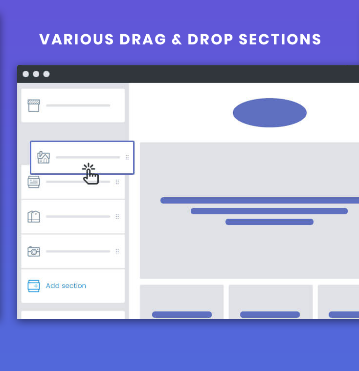 Drag & Drop page builder with Sections
