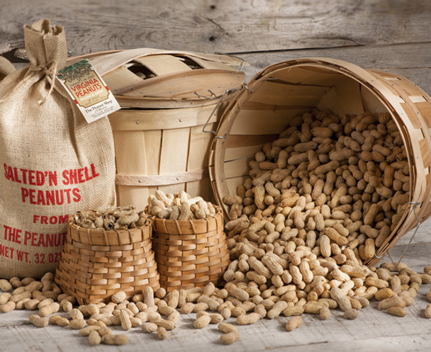 ROASTED & SALTED IN-SHELL PEANUTS IN A BUSHEL BASKET