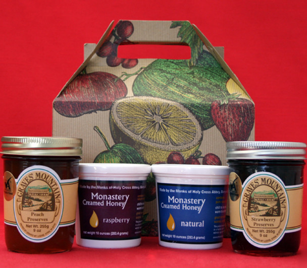 STRAWBERRY AND PEACH PRESERVES, RASPBERRY AND NATURAL HONEY GIFT BOX
