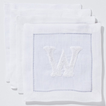 Hand-embroidered French Knot Monogram Cocktail Napkins Set of 4