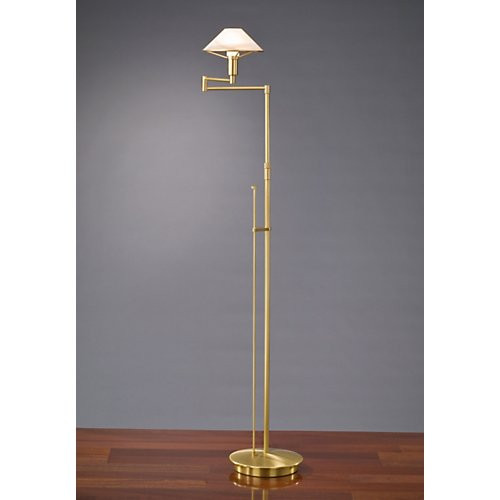 Charming Holtkoetter Aging Eye Swing Arm Floor Lamp In Antique Brass With Glass  Shade #9434