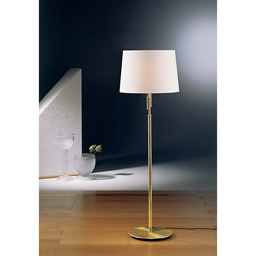 Lovely Holtkoetter Illuminator Floor Lamp In Brushed Brass With Fabric Shade #2545