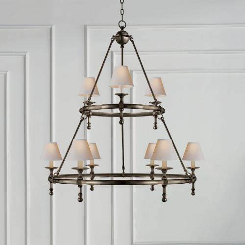 image chandelier lighting. E.F. Chapman Classic Two-Tier Ring Chandelier Image Lighting