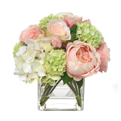Decor decorative accessories floral arrangements gracious home diane james home blooms pale pink hydrangea and rose bouquet mightylinksfo