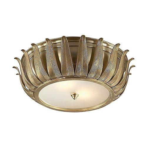 Alexa Hampton Audrey 2 Light 16 Inch Natural Brass Flush Mount Ceiling Light