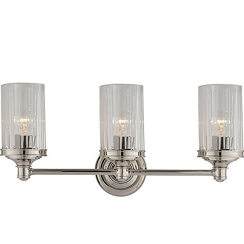 Triple Sconce Bathroom: Visual Comfort Ava Triple Sconce In Polished Nickel With Crystal