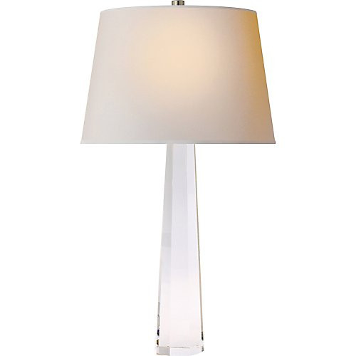 Visual Comfort Octagonal Spire Medium Table Lamp In Crystal With Natural  Paper Shade ...