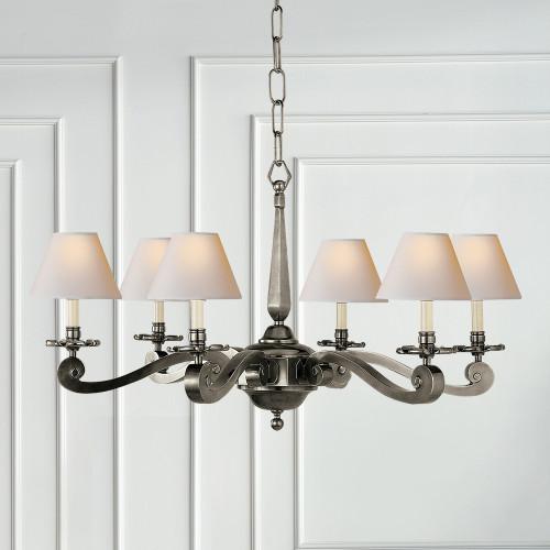 Visual comfort alexa hampton myrna chandelier in gun metal with antique brass gun metal mozeypictures Images