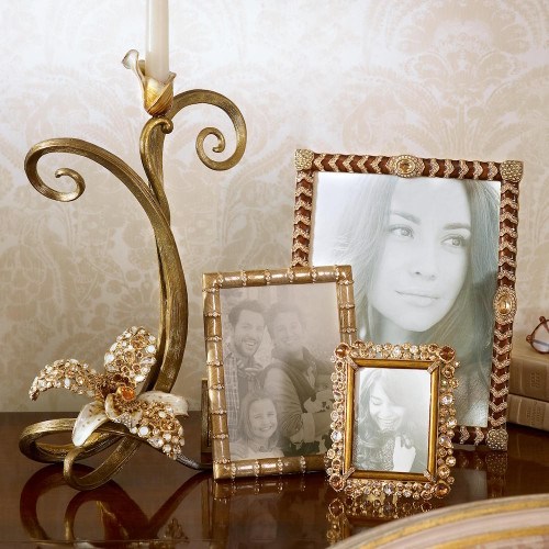 Jay Strongwater Claudio Golden Bejeweled 3x4 Frame - Gracious Home