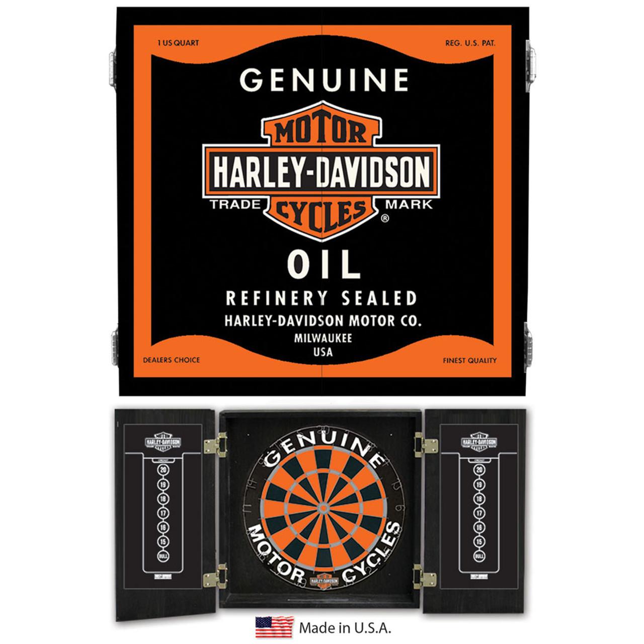 Delicieux Harley Davidson Oil Can Dartboard Cabinet