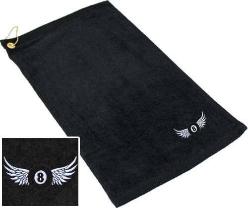 Ozone Billiards 8 Ball Wings Towel - Black - Free Personalization