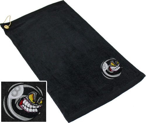 Ozone Billiards Angry 8 Ball Towel - Black - Free Personalization