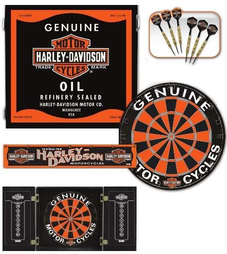 Ordinaire Harley Davidson Oil Can Dart Board Cabinet Set