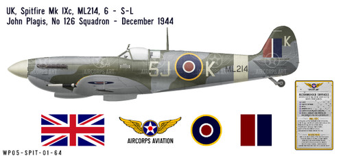 Spitfire Mk IXc, S/L John Plagis, OC No 126 Squadron, Royal Air Force, December 1944 Decorative Vinyl Decal