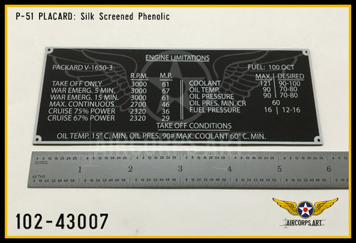 P/N - 102-43007 - PLATE - ENGINE LIMITATIONS NAME