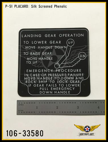 P/N - 106-33580 - PLATE - HYDRAULIC & LANDING GEAR CONTROL INSTRUCTIONS