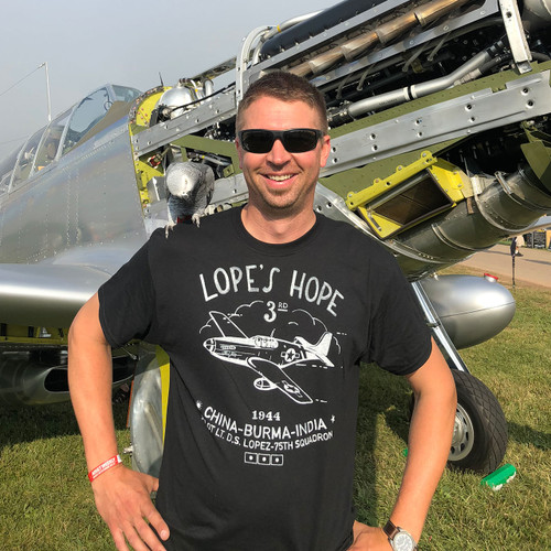"""P51C Mustang """"Lope Hope 3rd"""" T-shirt Lifestyle Photo"""