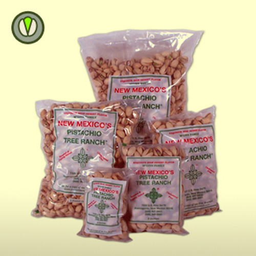 A 4 oz poly bag of Mc Ginn's naturally colored pistachio grown at Pistachio Tree Ranch in new mexico. Roasted and lightly salted, these pistachios have splits in the shell to make them easy to eat.