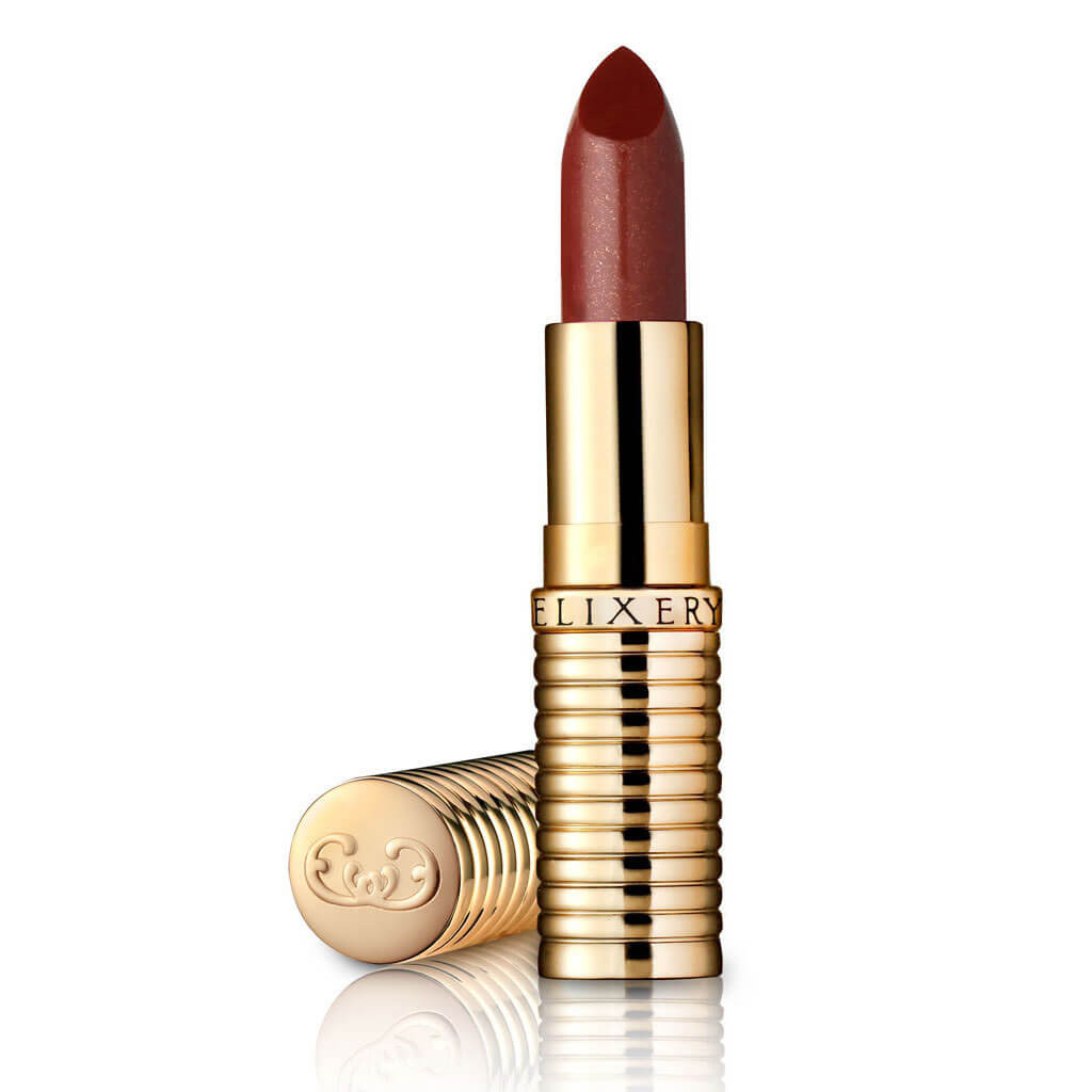 "Sheer natural looking lipstick, called ""Devious,"" in a gold tube"