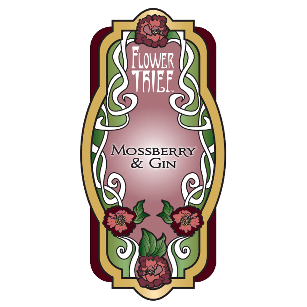 Mossberry and Gin Perfume Label.  Flower Thief fragrance line by Elixery.